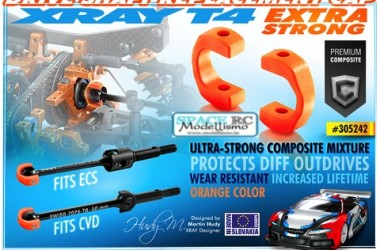 T4 orange heavy duty driveshaft caps | XRAY